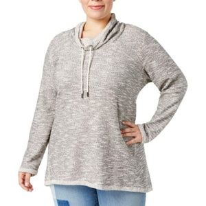 Style & Co Space Dye Funnel Neck Sweater 1X NEW